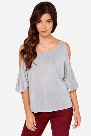 LULUS Exclusive Love Shy Heather Grey Top