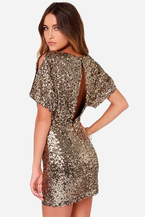 LULUS Exclusive Glory Never Fades Gold Sequin Dress