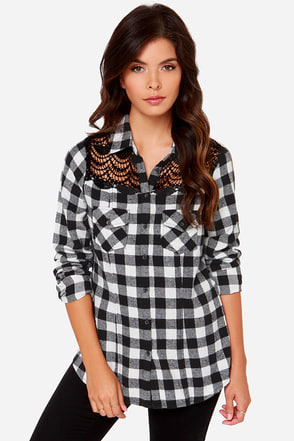 White Crow Offering Black and Ivory Plaid Button-Up Top
