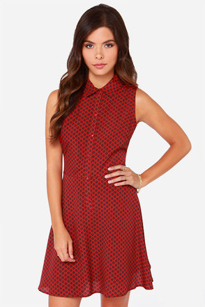 Jack By BB Dakota Brittain Red Floral Print Dress