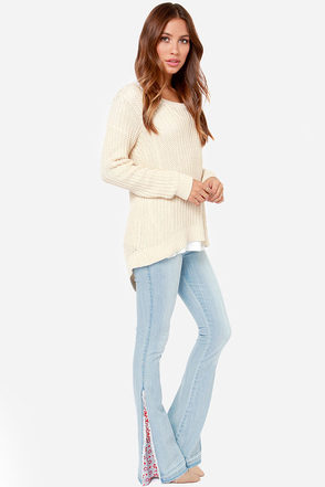 White Crow Indie Light Wash Flare Jeans