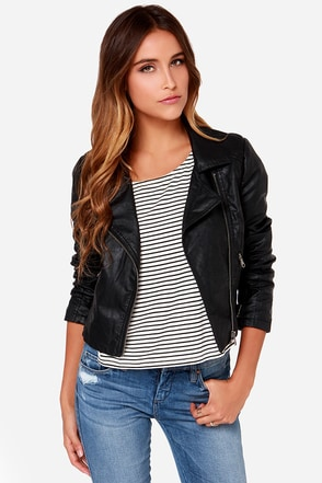 White Crow Spear Black Vegan Leather Moto Jacket