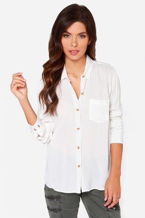 Obey Just Kids Ivory Button-Up Top