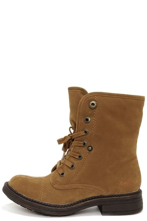 Blowfish Farina Earth Fawn Brown Suede Lace-Up Boots