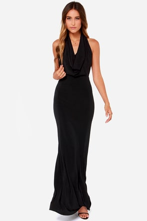 Rubber Ducky Night Cowl Black Maxi Dress