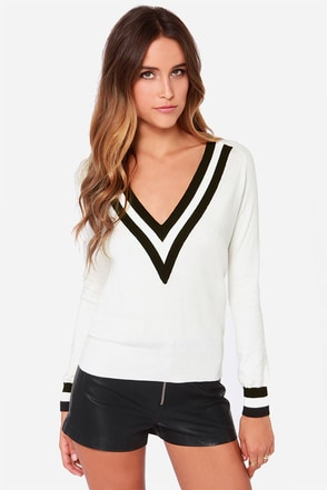 Varsity Charm Ivory Sweater Top