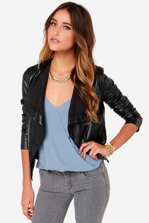 BB Dakota Lillian Black Vegan Leather Jacket