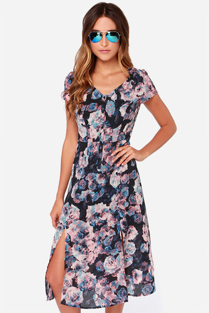 Jack by BB Dakota Zooey Navy Blue Floral Print Midi Dress