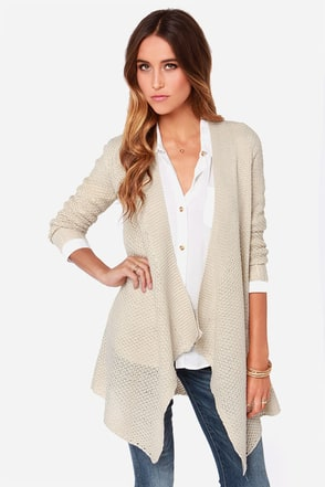 BB Dakota Howell Beige Cardigan Sweater at Lulus.com!