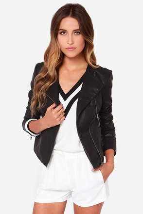 BB Dakota Reasha Black Vegan Leather Moto Jacket