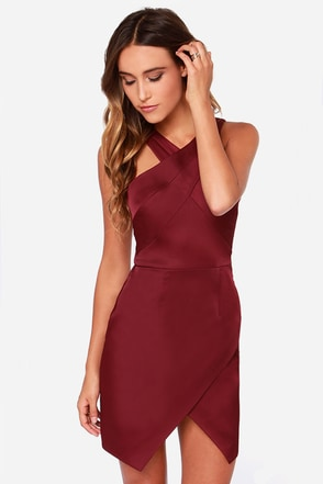 Style Stalker Lean on Me Burgundy Dress