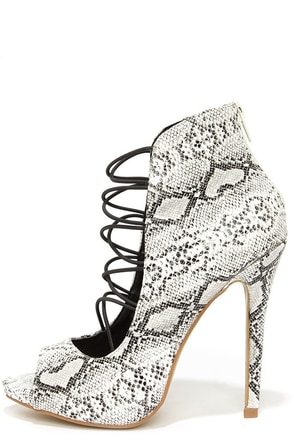 Shoe Republic LA Pacino White Snake Caged Peep Toe Booties