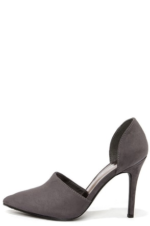 Megan 21 Grey D'Orsay Pointed Toe Pumps