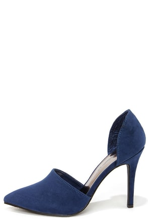 Megan 21 Navy Blue D'Orsay Pointed Toe Pumps