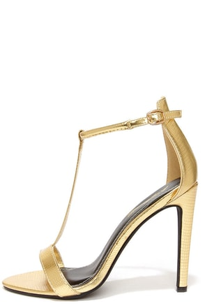 Anne Michelle Bristol 01 Gold Lizard T Strap High Heel Sandals at Lulus.com!