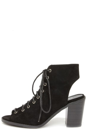 Tyler 11 Black Lace-Up Peep Toe Booties