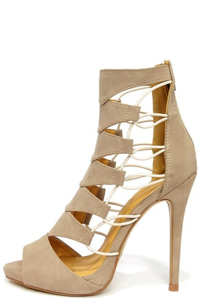 Shoe Republic LA Empress Camel Nubuck Caged Heels
