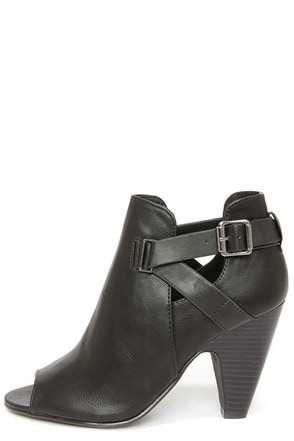 Soda Layla Black Cutout Peep Toe Booties