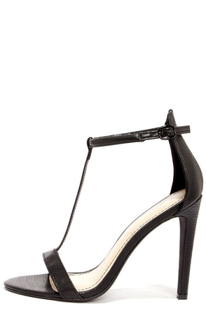Anne Michelle Bristol 01 Black Lizard T Strap High Heel Sandals