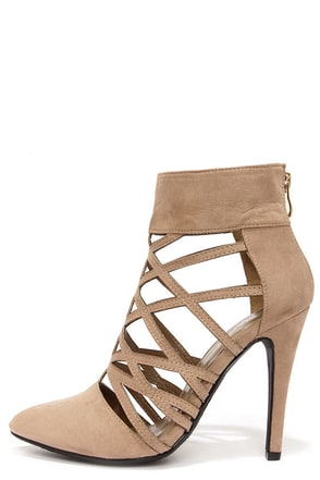 Paprika Creamy Taupe Pointed Toe Caged Booties