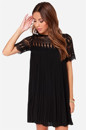 Darling Olive Black Lace Shift Dress