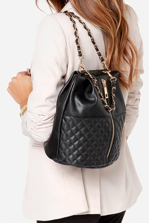 Quilt Trip Black Quilted Convertible Backpack at Lulus.com!