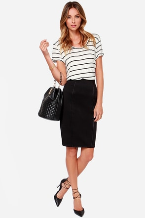 Black Swan Yoko Black Pencil Skirt