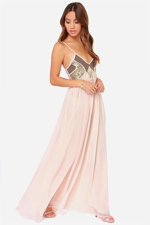 Top of The World Peach Sequin Maxi Dress