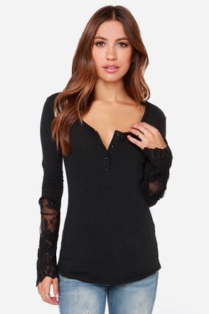 Black Swan Willow Washed Black Long Sleeve Top