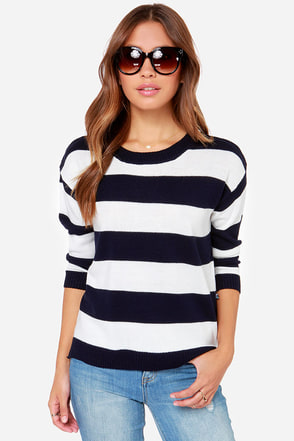 Matisse Ivory and Navy Blue Striped Sweater