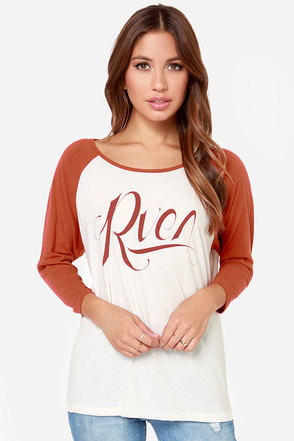 RVCA GT RVCA Ivory and Rust Red Baseball Shirt