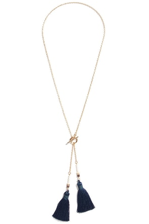 Swingin' Time Gold and Navy Blue Tassel Necklace