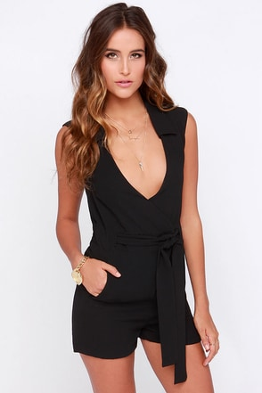 Strike and Match Black Romper