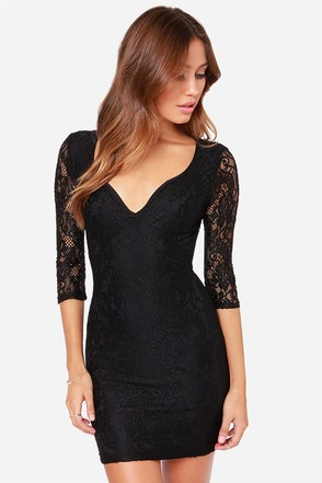 LULUS Exclusive Curve Appeal Black Lace Dress