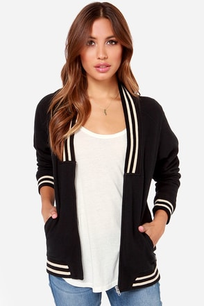 Obey Bayside Black and Cream Cardigan Sweater