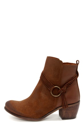 Sixtyseven Bailey 75126 Suoil Tan Leather Burnished Ankle Boots