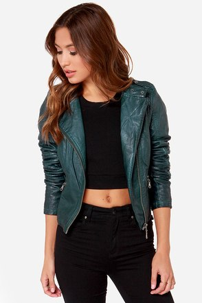 Black Swan Heart Dark Teal Vegan Leather Moto Jacket
