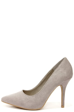 Wild Diva Lounge Lovisa 01 Grey Suede Pointed Pumps at Lulus.com!