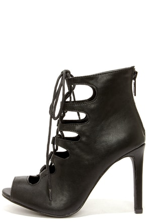 Rebeca 21 Black Peep Toe Lace-Up Heels