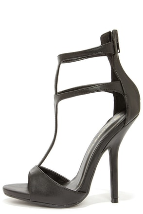 Wild Diva Lounge Cecily 08A Black T-Strap High Heel Sandals