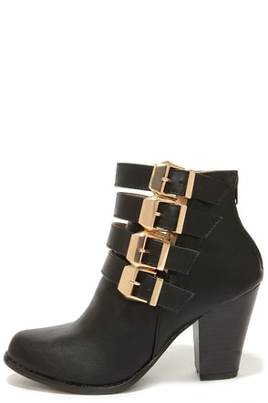 Chase & Chloe Natalie 5 Black Buckled Booties