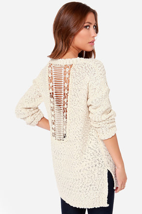 Sound A-Chic Cream Crocheted Sweater