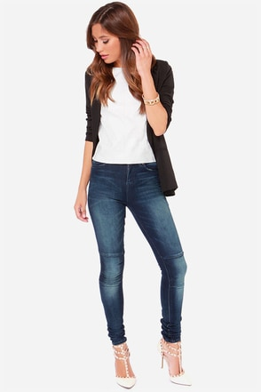Dittos Aria Dark Wash High Rise Skinny Jeans at Lulus.com!