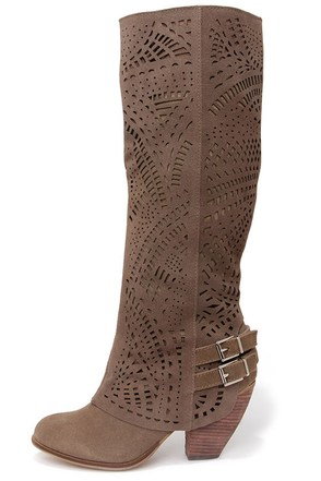 Naughty Monkey Fast Times Taupe Suede Leather Laser-Cut Boots