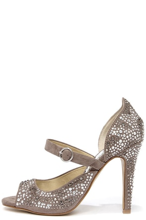 Naughty Monkey Angela Taupe Rhinestone Peep Toe Pumps