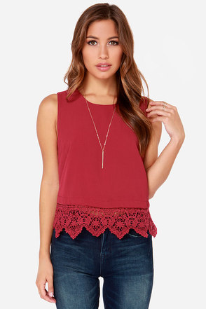 Bring It Home Wine Red Lace Top
