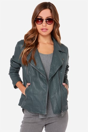 Hitch a Ride Grey Vegan Leather Moto Jacket at Lulus.com!