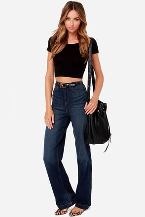 Dittos Cora High Rise Dark Wash Wide Leg Jeans at Lulus.com!