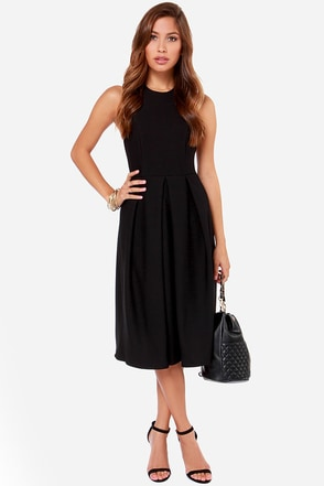 LULUS Exclusive Halter-native Girl Backless Black Midi Dress at Lulus.com!