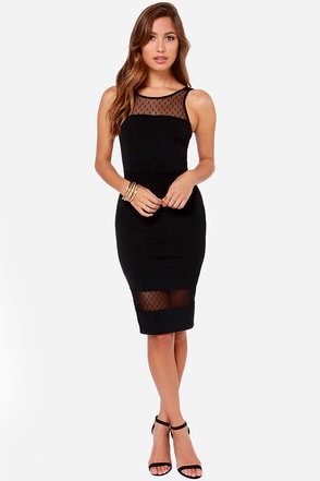 LULUS Exclusive Midi Slicker Black Midi Dress